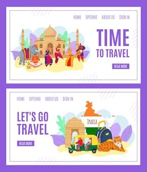 Czas w podróży, banery turystyka indie zestaw ilustracji. punkt orientacyjny w indiach. indianie w tradycyjnych strojach tanecznych. wędrujące symbole kultury, tygrys, architektura. mapa podróżnych.