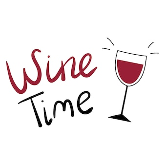 Czas wina napis na białym tle ze szkłem typografia plakat bar lub menu restauracji