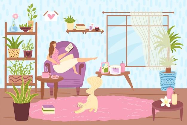 Czas wolny, osoba kobieta czyta książkę w domu, ilustracja. postać młodej dziewczyny zrelaksować się na kanapie. ludzie odpoczywają styl życia, słodkie hobby dla kobiety w przytulnym wnętrzu pokoju.