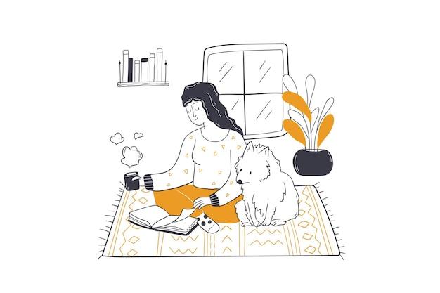 Czas wolny, przyjaźń ze zwierzętami, ilustracja koncepcja rozrywki
