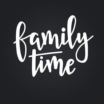 Czas z rodziną ręcznie rysowane plakat typografii. koncepcyjne zwrot odręczny domu i rodziny, ręcznie napisane kaligraficzne projekt. literowanie.