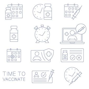Czas zaszczepić ikony. karta medyczna, strzykawka, fiolka, kalendarz, lekarz online i inne ikony kliniczne. koncepcja szczepień. opieka zdrowotna i ochrona. leczenie medyczne. wektor