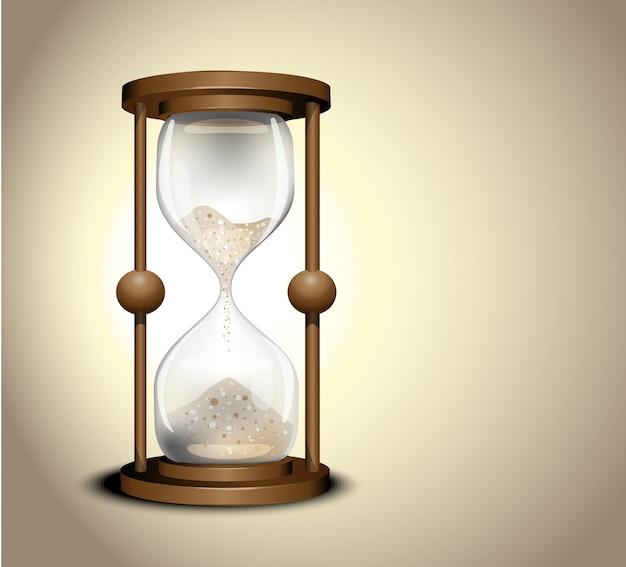 Czas zegara piasku. antyczny zegarek z klepsydrą