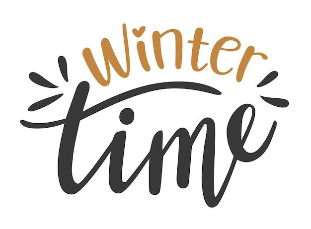 Czas zimowy ręcznie rysowane napis