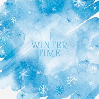 Czas zimowy tło z akwarelami
