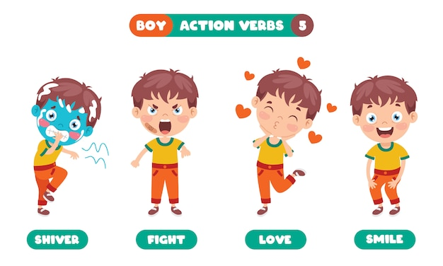 Czasowniki akcji dla edukacji dzieci
