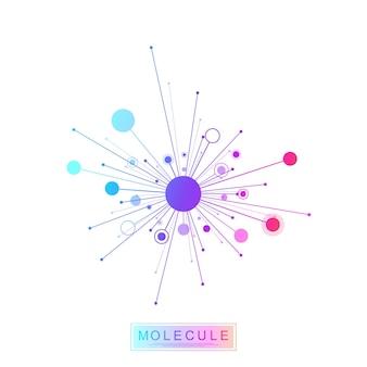 Cząsteczka logo szablon ikona nauka genetyka logotyp, helisa dna. analiza genetyczna badania biotechnologicznego kodu dna infografikę testu. mapa sekwencji genomu. test genetyczny struktury cząsteczki ilustracja wektorowa.