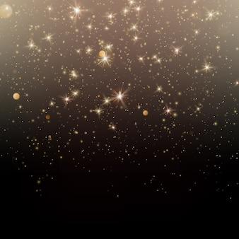 Cząsteczki błyszczą złotym świecącym magicznym blaskiem i gwiezdnym pyłem ciemne tło.