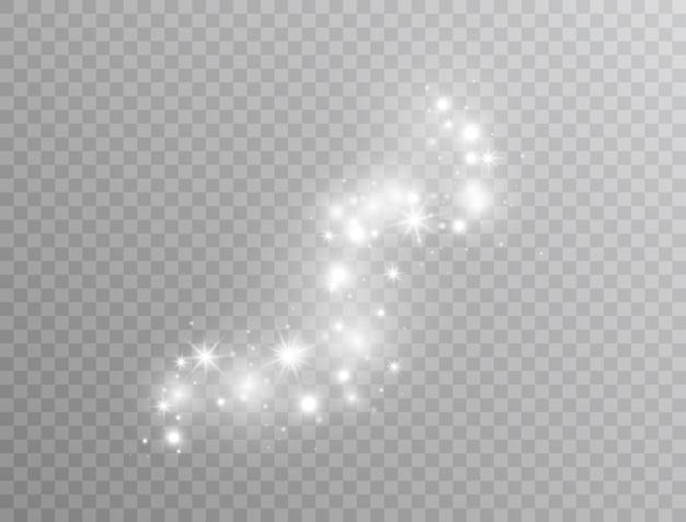 Cząsteczki pyłu magicznego brokatu. biały świecący efekt świetlny na białym tle. wybuch gwiazdy z iskierkami. świecące pochodni. ilustracja wektorowa
