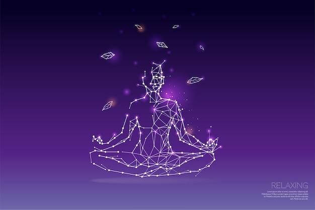 Cząsteczki, wielokątna, geometryczna grafika - joga