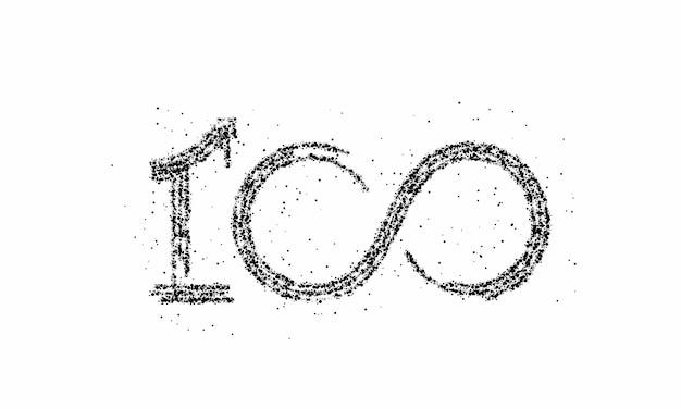 Cząstka 100 sto punktów tekstu wektor projekt wektor.