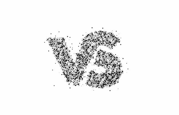 Cząstka design vs firmy połączone logo listu, ilustracja wektorowa sztuki linii.
