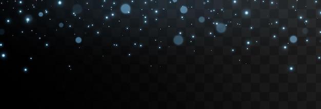 Cząstki niebieskiego światła spadają z nieba magiczne odblaski kurzu png magiczny blask niebieskie światło gwiazdy
