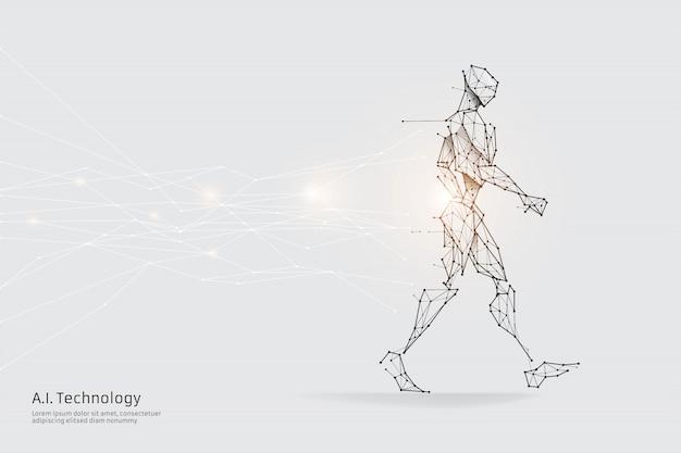 Cząstki, sztuka geometryczna, linia i kropka ludzkiego chodzenia.