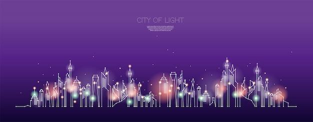 Cząstki, sztuka geometryczna, linia i kropka miasta nocą.