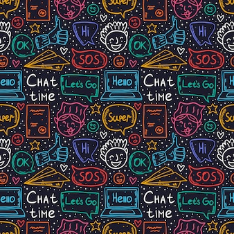 Czasu kreskówka, doodle, bezszwowy wzór, tło, tło, tekstura. dymek, wiadomość, emoji, list, gadżet, papierowy samolot. ładny kolorowy neon.