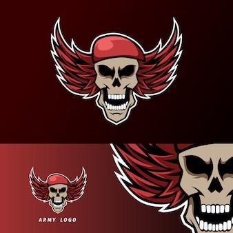 Czaszka armii kapelusz skrzydła maskotka sport logo szablon e-sport