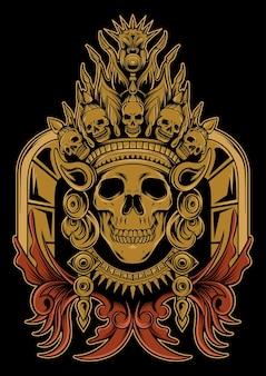 Czaszka aztecka ilustracja nakazała