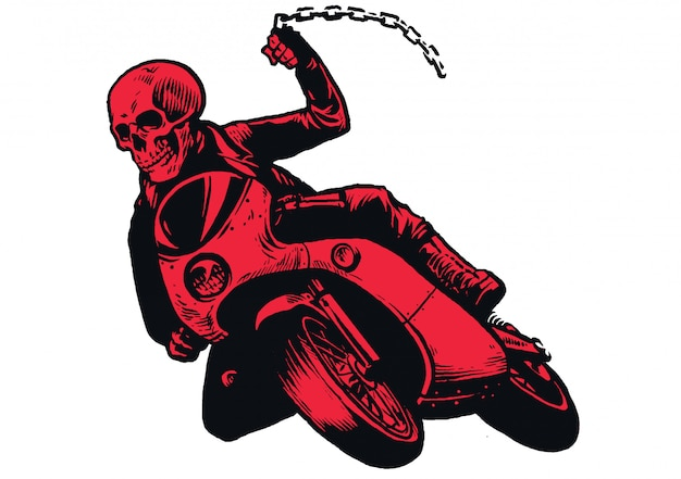 Czaszka bandyta na motocyklu