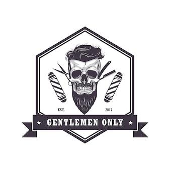 Czaszka barber shop sześciokątne logo retro vintage design szablon ilustracja wektorowa