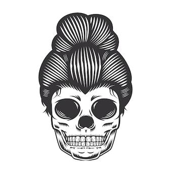 Czaszka córka głowy projekt na białym tle. halloween. logo głowy czaszki lub ikony. ilustracji wektorowych.