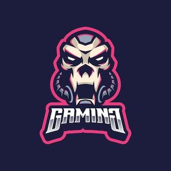 Czaszka cyborg logo maskotka