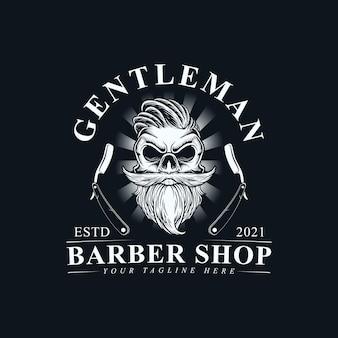 Czaszka głowa dżentelmena z wąsem i brodą logo ręcznie rysujący projekt szablonu ilustracji wektorowych