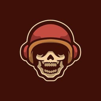 Czaszka głowa kreskówka logo szablon ilustracja esport logo gaming premium vector