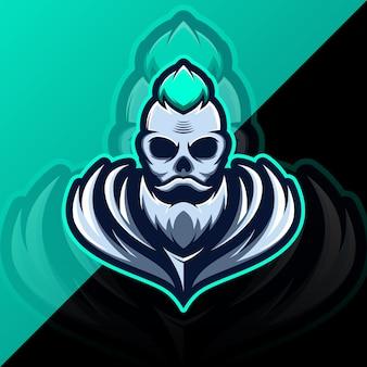 Czaszka głowa logo gaming maskotka sportowy szablon