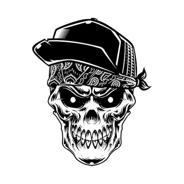 Czaszka głowy nosić kapelusz i paisley w trybie monochromatycznym