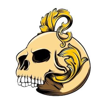 Czaszka głowy ze złotą dekoracją