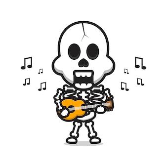Czaszka gra na gitarze ikona ilustracja kreskówka wektor. zaprojektuj na białym tle płaski styl kreskówki
