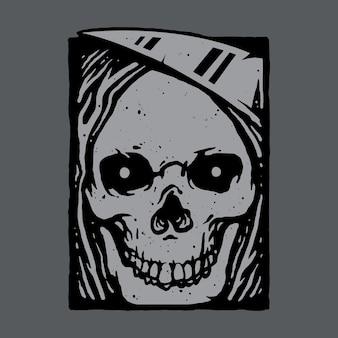Czaszka horror grim reaper art design ilustracja