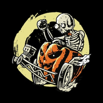 Czaszka horror halloween drag racing art design ilustracja