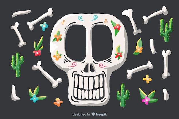 Czaszka i kości akwarela día de muertos tło