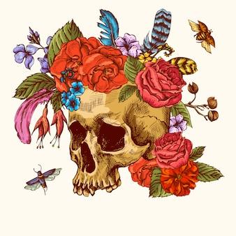 Czaszka i kwiaty dzień zmarłych