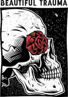 Czaszka i róża wektor