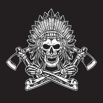 Czaszka indian z akcesoriami nakrycia głowy z piórami trzymającymi topory grafik czarno-biały