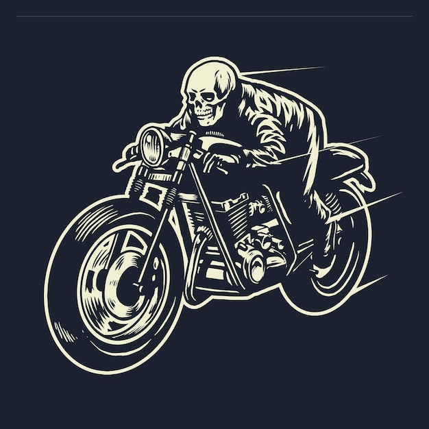 Czaszka jeździ motocyklem cafe racer