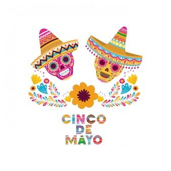 Czaszka karty cinco de mayo na białym tle