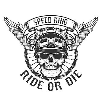 Czaszka kierowcy ze skrzydłami. moc rowerzysty. jedź lub zgiń. element plakatu, koszulki, godła. ilustracja