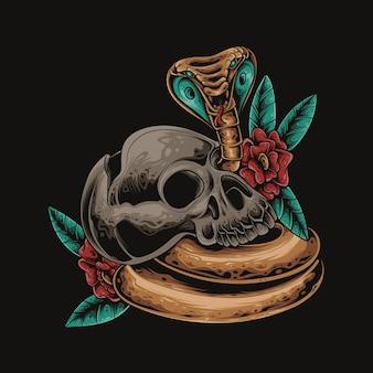Czaszka kobra kwiat kolorowa ilustracja