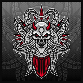 Czaszka kości maskotka esport projektowanie logo ilustracje wektor szablon szkielet logo szablon kreskówka