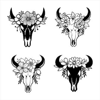 Czaszka krowy z rogami ozdobiona kwiatami