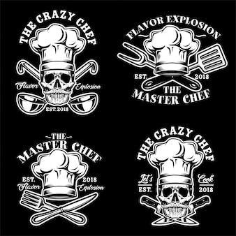 Czaszka kucharz kapelusz logo wektor zestaw ilustracji