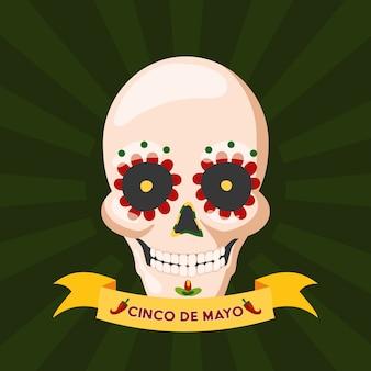 Czaszka kultury meksykańskiej, meksyk cinco de mayo, ilustracja