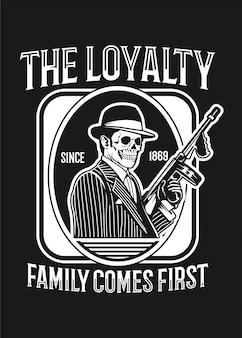 Czaszka mafia czarno-białe kolory