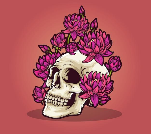Czaszka martwy kwiat lilii wodnej śmiertelnie