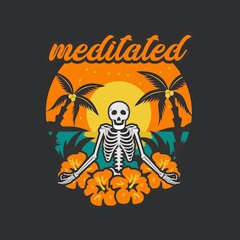 Czaszka medytował ilustrację