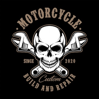 Czaszka motocykl z wyrwanie ilustracją